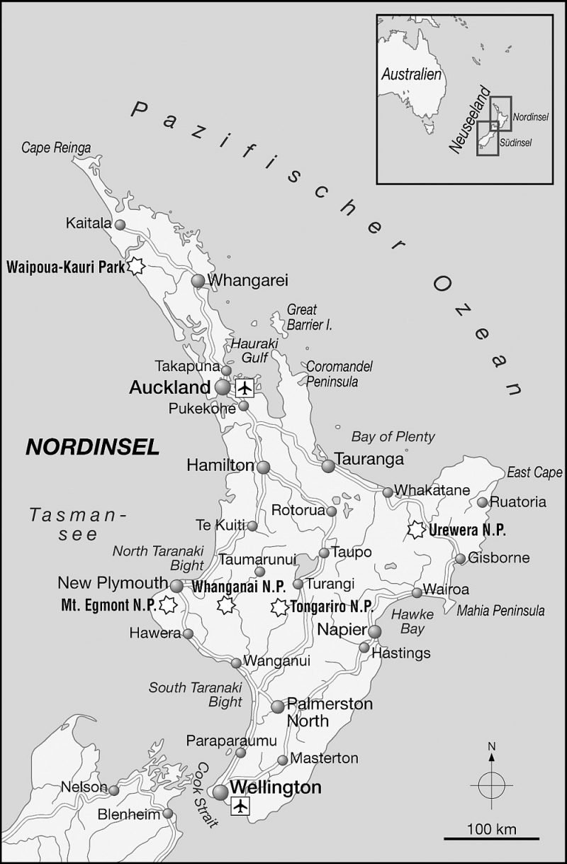 Karte Neuseeland Nord