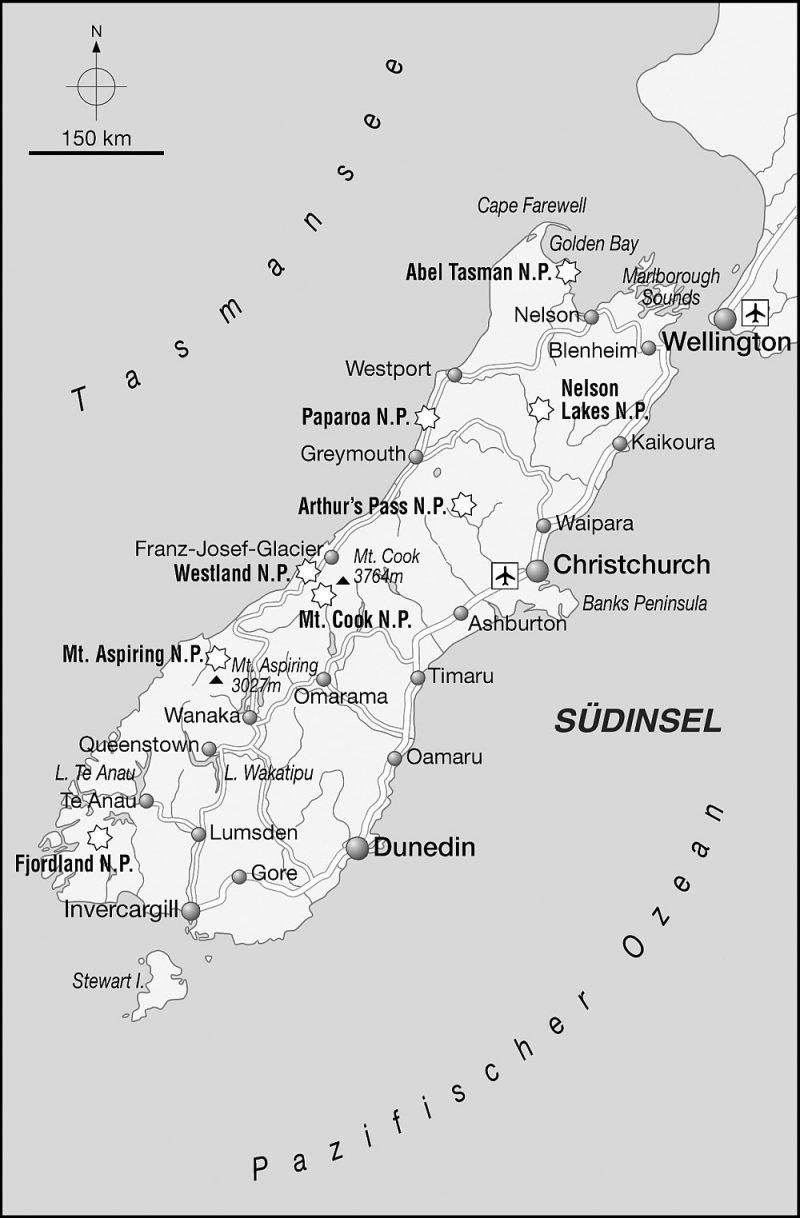 Karte Neuseeland Süd