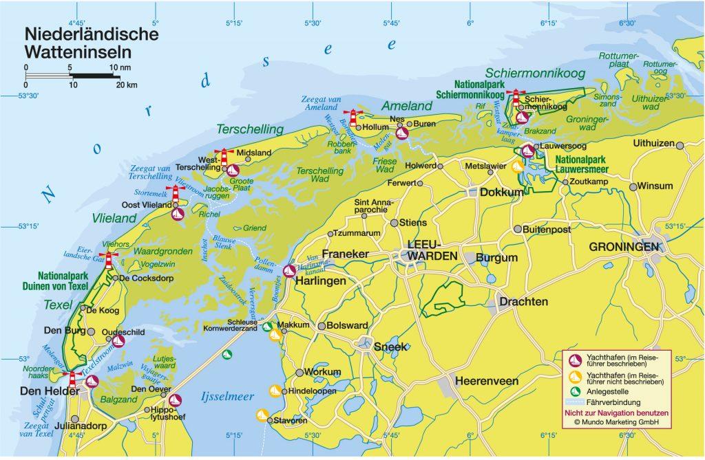 Übersichtskarte Niederländische Watteninseln