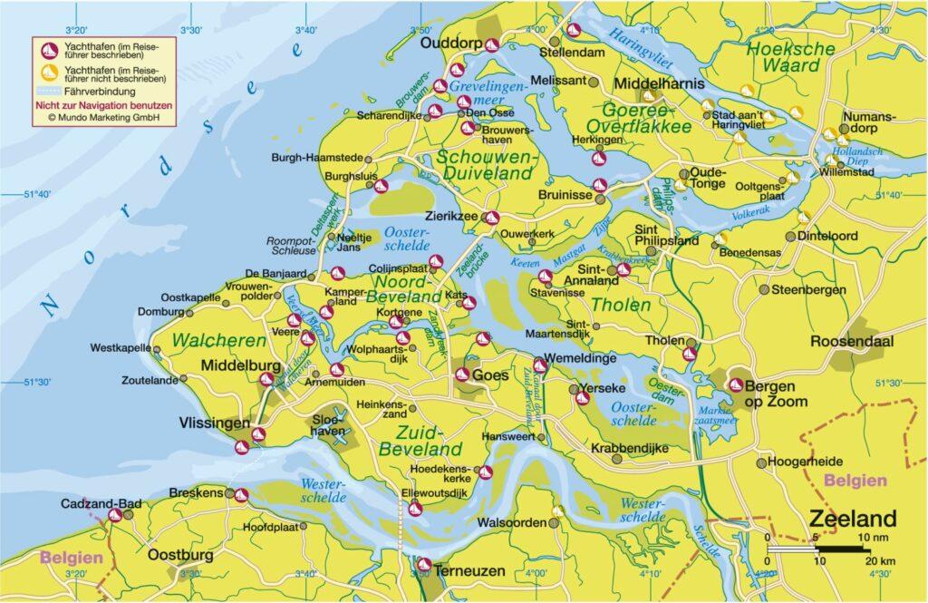 Zeeland Übersichtskarte